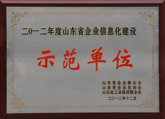 山东省企业信息化建设示范单位