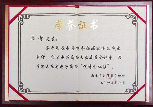 优秀企业家荣誉证书