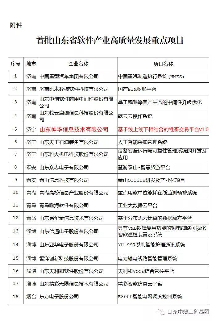 山东神华信息公司软件产品入选首批山东省软件产业高质量发展重点项目
